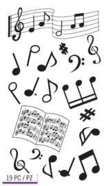 Muzieknotenstickers groot -  19 stuks