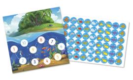 Beloningskaarten met grote stickers - Zeebeestjes - Topkwaliteit