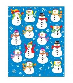 Sneeuwpop Vorm Stickers - 14st