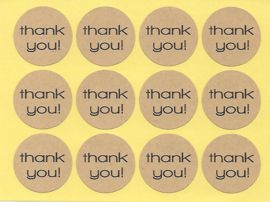 Craft Stickers Thank You - 12 stickers