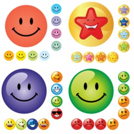 Beloningsstickers Grote Set Smiley - 4 Vel - 216 Stickers - 19mm