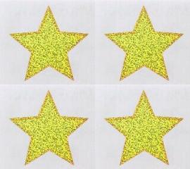 Grote Gouden Glitter Sterren - 4 Stickers