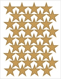 Grote Gouden Sterren Stickers - 36 Stickers