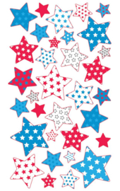 Rood, wit, blauwe sterren - 33 stickers