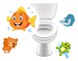 Toilet Stickers Beestjes - Set van 4 Stickers