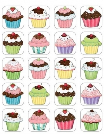 Cupcakes - 20 Stickers