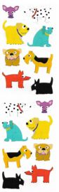 Gekleurde Hondjes - 16 Stickers