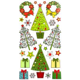 Kerstbomen met goud - 24 Stickers