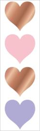 Glimmende Harten Groot -  4 Stickers