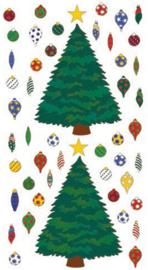 Kerstboom met glimmende ballen stickers - 50 stickers