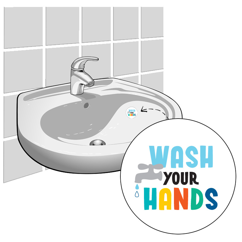 """""""Wash your Hands"""" - Set van 2 Stickers"""