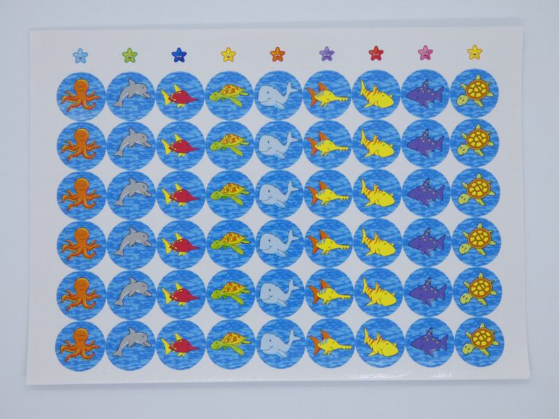 Beloningsstickers Onder Water 19mm- 54 Stickers