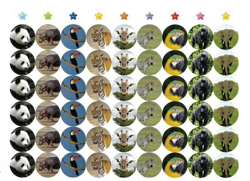 Beloningsstickers Grote Set Dieren - 4 Vel - 216 Stickers - 19mm