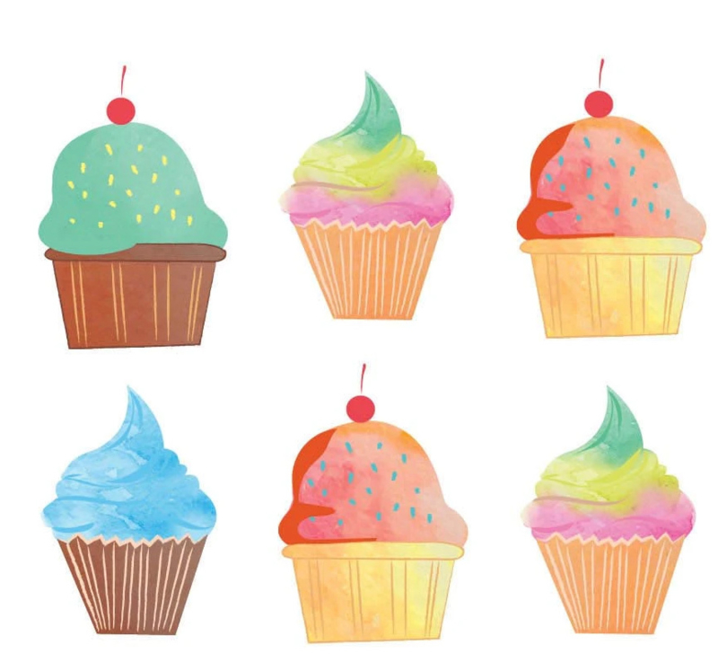Colourful Cupcakes - 20 Stickers