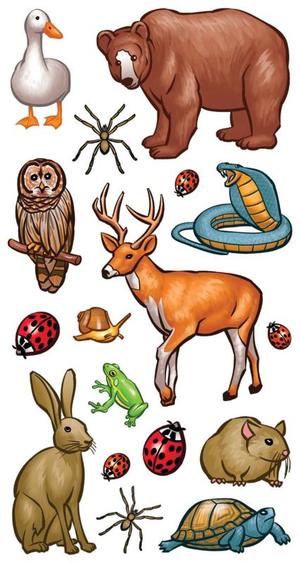 Diverse Bosdieren - 17 Stickers