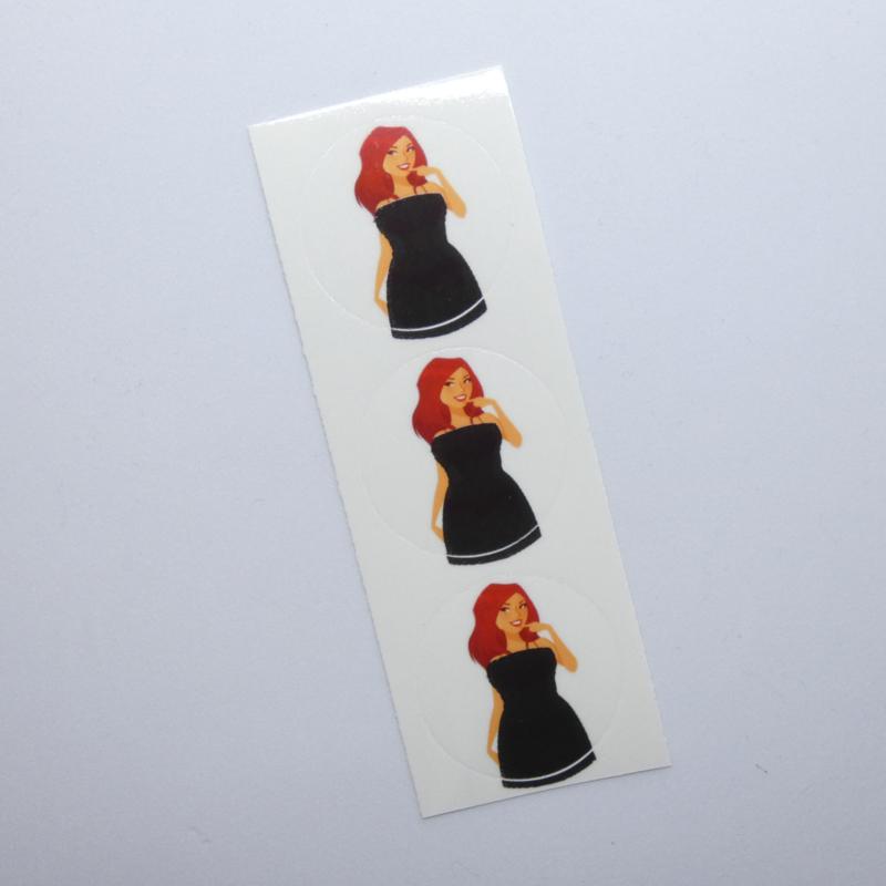 Verkleurende Toiletstickers Mooie Dame - 3 Stickers