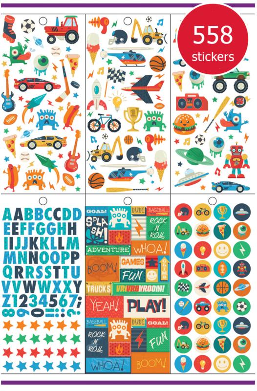 Megapak Stickers voor Jongens - 18 Vel - 558 Stickers