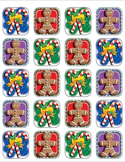 Zuurstokken en Gingerbread Mannetjes - 20 Stickers