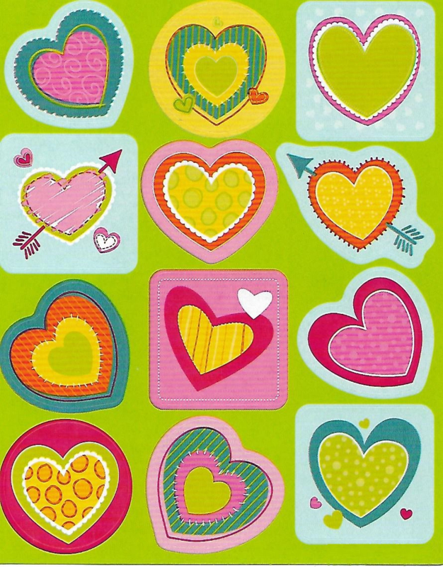 Fun With Hearts  - 12 Stickers