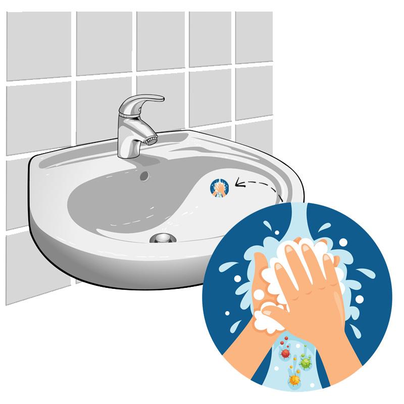 """""""Na Plassen Handen Wassen"""" - Set van 2 Stickers"""