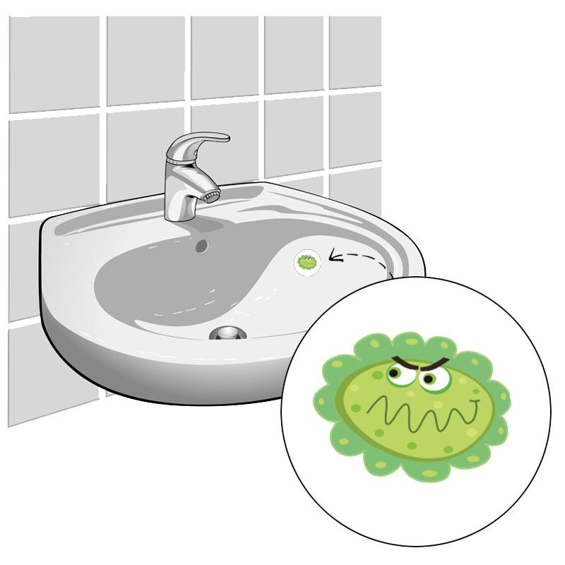"""""""Handen Wassen Bacterie"""" - Set van 4 Stickers"""