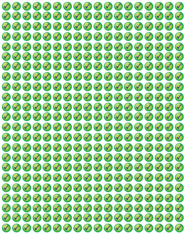 Beloningsstickers Groene Vinkjes Klein 10mm- 1104 Stickers Mega Set