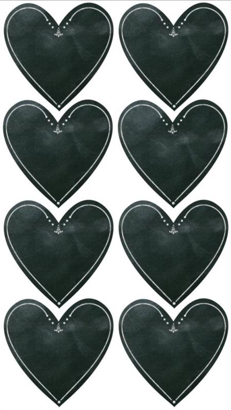 Hartenkreet krijtstickers - 8 stickers