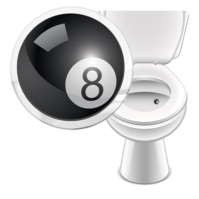 Toilet Stickers Biljartbal 20mm - 2 Stickers