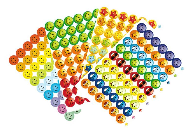 Beloningsstickers Grote Set Smiley - 4 Vel - 216 Stickers - 19mm