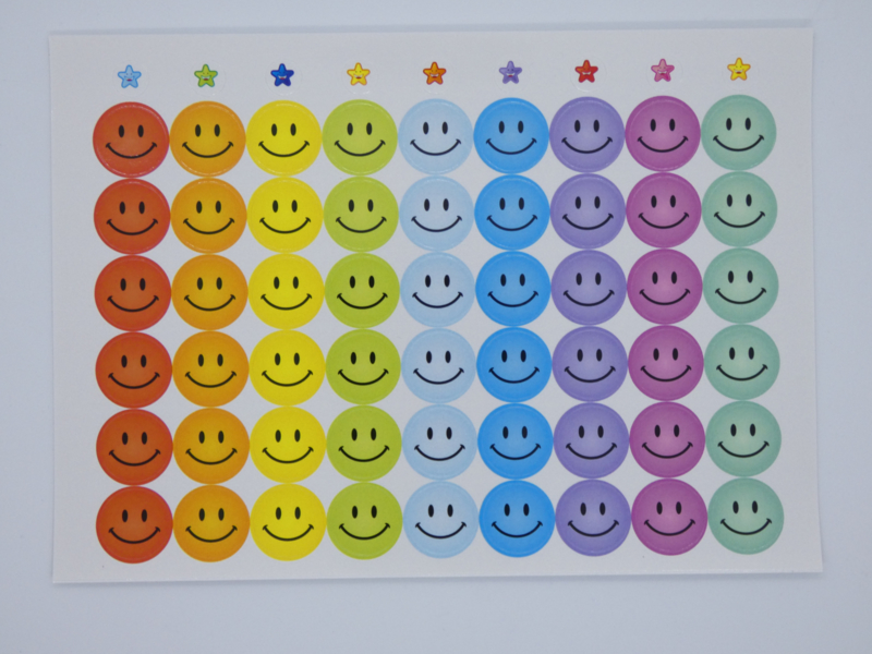 Beloningsstickers Smileys Groot 19mm - 54 Stickers