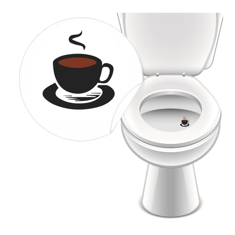 Toilet Stickers Koffie! 25mm - 4 Stickers