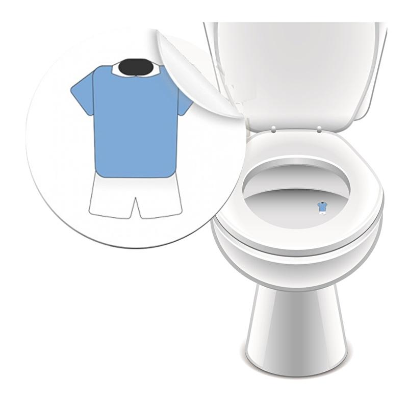 Toilet Stickers Shirt Blauw 25mm - 2 Stickers
