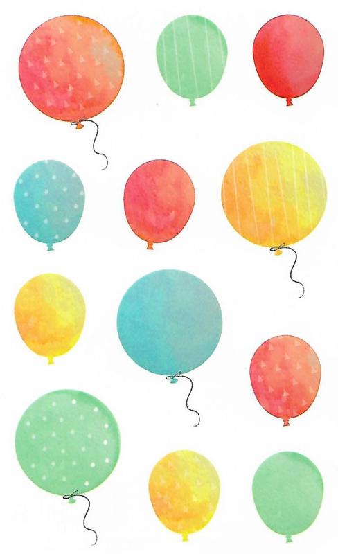 Waterverf Ballonnen - 12 Stickers