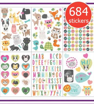 Megapak Stickers voor Meisjes - 18 Vel - 684 Stickers