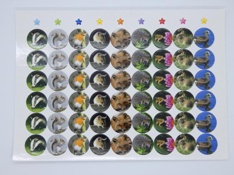 Beloningsstickers Foto Bosdieren 19mm - 54 Stickers