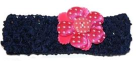 Haarbandje | donkerblauw / fuchsia