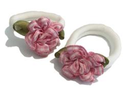 2 elastieken | roze bloem