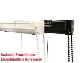 Raffrollosystem Weiß / Schwarz Deluxe bis 75 cm