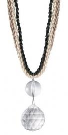 Raffhalter kordel mit Perlen Antrazit-Sand - 65cm