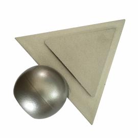 Eind Knop Pyramide 16mm kunststof zilverkleurig