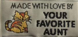 "Label ""Made with love by your favorite aunt"""