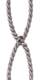 Embrassekoord met chrome ringen grijs/bruin licht