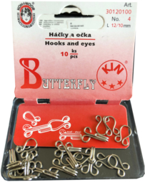 Haken en ogen 12 + 10 mm - 10 sets