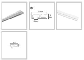 Platte Glijder voor inbouwrail 8cm afstand