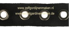 Nestelogenband 20mm geweven zwart- ogen oud nikkel