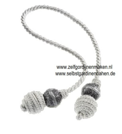 Deco kwast met balletje grijs/zilver