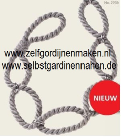 Embrassekoord met chrome ringen Antraciet