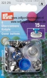 Überziehbare Knöpfe, mit Werkzeug, 15mm, silberfarbig