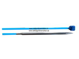 Jackenstricknadeln, Aluminium, 40cm, 4,5mm, Blau / Gold