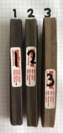 Biaisband bruin 12 mm katoen